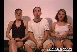 Amateur homemade threesome with busty girlfriends