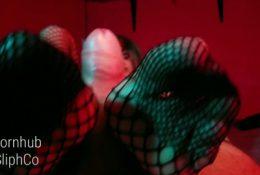 Awesome fishnets footjob and huge cumshot SliphCo