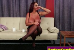 Bigtitted brit jerks and tugs before facial