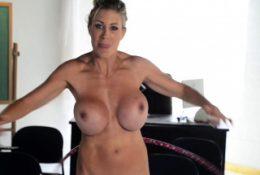Busty MILF pornstar Puma Swede hula hooping naked