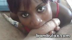 Ebony teen nice blowjob cum in mouth