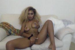 Ebony tiny curly doll Bebe Jay rubbing tight vagina