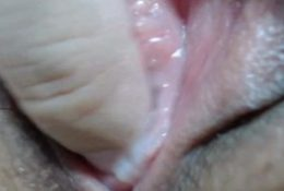 Extreme close-up of a wet virgin pussy……