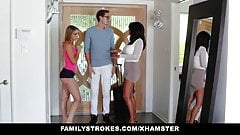 FamilyStrokes – College Bro Cums Home To Horny SIs