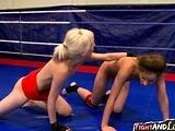 Fingering lesbo beauty enjoys wrestling
