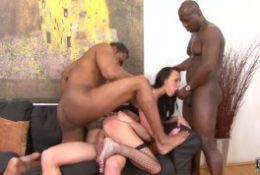 Fucked by multiple cocks in the same time in ass pussy and mouth