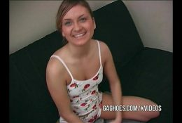 Gag-Loving Teen Deepthroats In The Couch