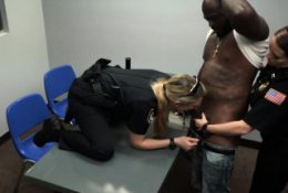 Interracial BISEXUAL threesome with BIG-DICKED criminal