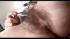 interview hairy beauty, glass dildos her awesome hairy pussy