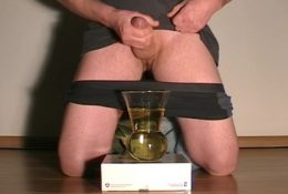 Man Peeing in Vase & Cumshot Male Pissing Jerking Wanking Wet Golden Shower