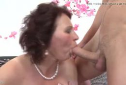 Mature mumsy spoiling a young step son