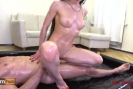 Oiled up teen fucking, squirting and getting pissed on. Mia Bandini