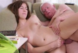 Teen girl and old grandpa