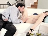 Teen licked and pounded by real stepdad