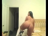 Thick black girl with big boobs and phat ass striptease