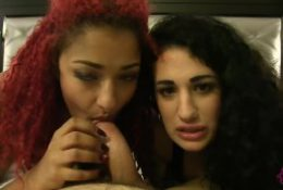 Two Brown Goddesses torture white cock