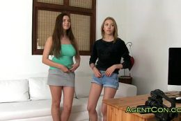 Two hot amateurs fucked on casting