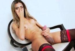 Cute Latina TS babe Karina in hot solo masturbation