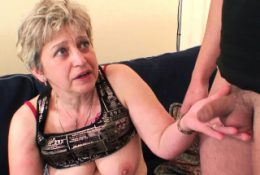 Horny grandmother in stockings need two cocks