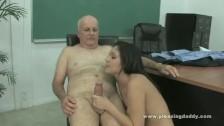 Horny old teacher fucks cute student