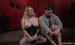 Huge Tits Dominatrix Wanks Slaves Dick