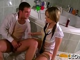 Passionate Leony Aprill gets filled up to an edge