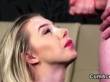 Peculiar model gets cumshot on her face swallowing all the c