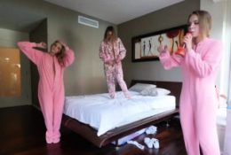 Petite teen BFFs woke up and fucked hard one by one