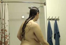 Pregnant cam girl in shower