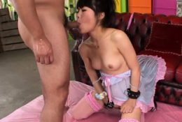 Pretty in pink Asian girl gets an anal and pussy creampie