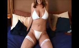 Squirting Busty Blonde In Stockings