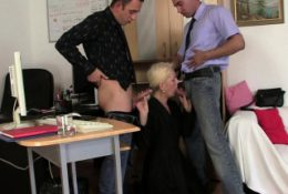 Two guys fuck very old blonde granny for job