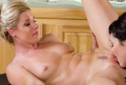 Two horny lesbian MILFs massage and passion fingering