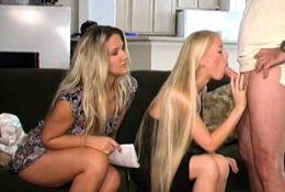 Two hot blonde amateur take turns sucking and fucking