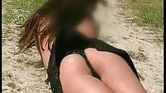 18 years old teen Nabilla sexy strip at beach