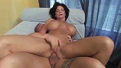 Big tits mature milf cougar fucks younger guy