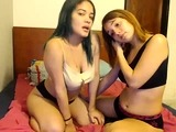 Busty lesbian couple in shower lick and finger