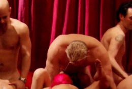 Couples foreplay as they get ready to head to the red room