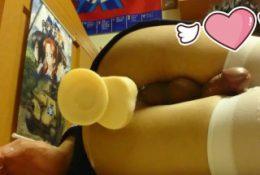 crossdresser dlido play and cumshot