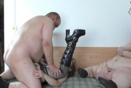 Fat Guy fucks Teen in front of a Midget & Comes in the Hairy Pussy