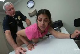 Handcuffed teenager rides cops cock