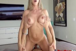 Hot Stepmom Brandi Love Catches Son Jacking Off To VR And Helps Him Out