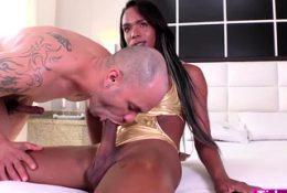 Busty ebony shemale Gabriella F barebacks studs tight ass