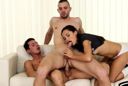 Jock gets his ass filled with cock in trio