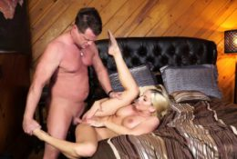 Mature blonde babe Christie Stevens greets her brother in