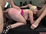Sexy slut secretary and her gf licked and analed by her boss