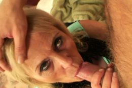 Skinny old blonde prostitute takes his big cock