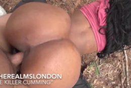 Slutty big titt Ebony Jas interracial outdoor sex twerk on Dick