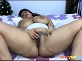 Thick Latina playing with dildo