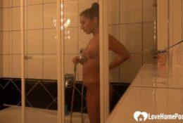amazing hot brunette lets her lucky man record her golden shower
